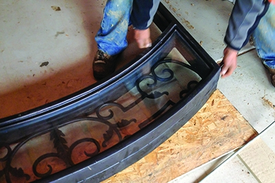 The door transom was traced on a sheet of OSB to copy the shape.