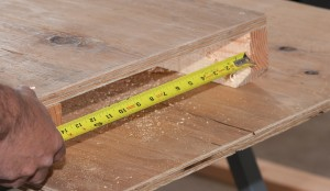 "Measure the space between the two table supports and cut wing boards that will fit underneath with about ½"" of room."