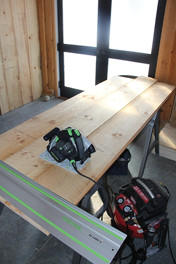 A circular saw with ripping gauge serves as an excellent tool combo for making long, accurate cuts.