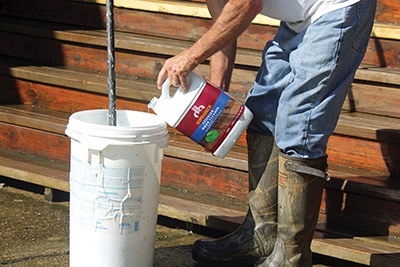 Super Deck Exterior Cleaner concentrate is used to clean the wet areas.