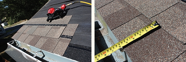 "The trimmed shingle ensures the seams are staggered between courses. Install StormMaster Shake Shingles with 5-5/8"" exposure."