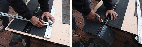 Use a T-square as a guide to mark the cutline on the rear of the shingle. The Ridgid Roofing Cutter is an air tool that slices asphalt shingles quickly.