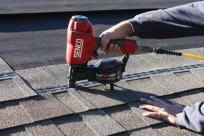 The Senco RoofPro 455XP is handy new roofing nailer that saved lots of time on this job.