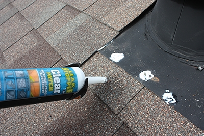Seal any exposed fasteners with quality roofing sealant. Gardner-Gibson's Leak stopper goes on white but dries clear.