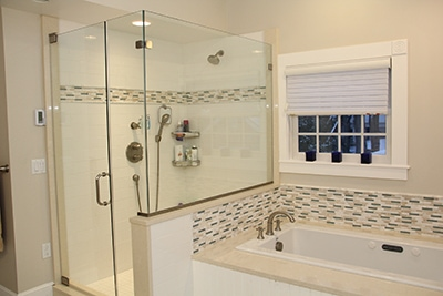 Here's the semi-frameless glass enclosure once completely installed.