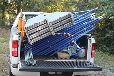 When disassembled the kit fits in the bed of a pickup truck for transport or storage.