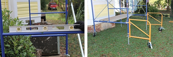 Lockable wheeled outriggers provide additional safety, stability and portability to the scaffolding system. The scaffolding must be assembled completely level, with adjustments made to the screw-jacks on the bottom legs.