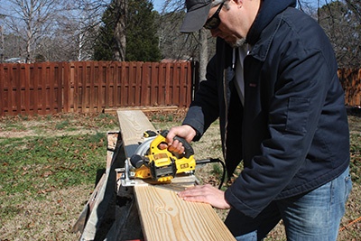Support the work piece and cut it to size a circular saw.