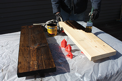 Brush on the wood stain then immediately wipe off the excess with a rag.