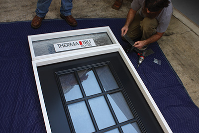 Assemble the door and transom on a very flat surface.