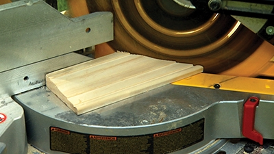 Cut inside miters with the long points on the thick edge of the molding.