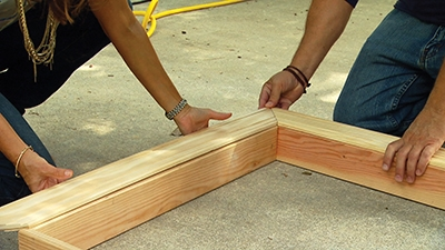 Assemble the molding pieces for a picture-frame look.