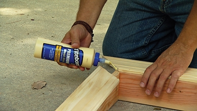 Apply glue at the miters.