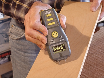 General's MMD8P is a precision moisture meter especially useful for woodworkers. Pre-loaded with species-specific information on 48 common wood types, its digital memory records and stores up 99 separate data inputs for convenient reference. A high-visibility (OLED) dot-matrix screen, multiple display options, and ambient temperature compensation combine to make this unit a top choice for the shop.