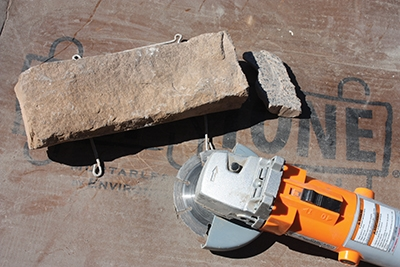 Cut the stones using a chop saw or a grinder with a diamond-grit blade.
