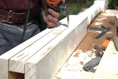 The notched cuts were started with a circular saw and completed with a multi-tool.