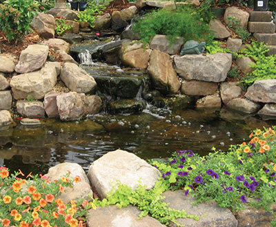 A waterfall is the most popular feature of backyard ponds. In fact, some water-falls are pondless, featuring only the waterfall without the pool beneath it.