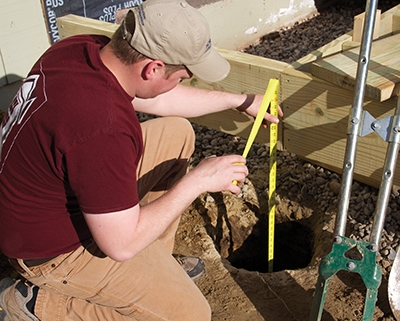 The depth of the deck footings will be determined by your local frost line and building codes.