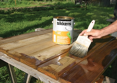 Film-forming stain/sealers create a smooth, glossy finish that allows the wood grain to show through.