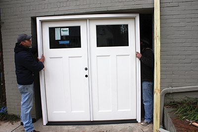 For this project we were able to position the new door and build the rough opening around it.