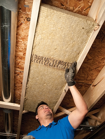 The batts compress to friction-fit between framing members for easy installation that requires no fasteners.