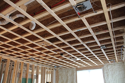 Shown here is the exposed framing of the room that needed soundproofing.