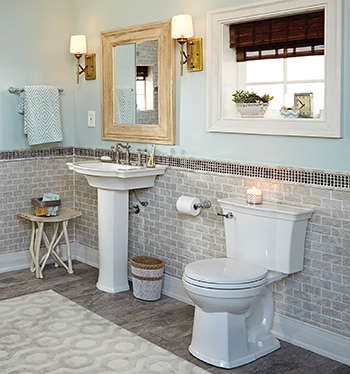 Modern bathroom trends include pedestal sinks, low-flow toilets, floating vanities and open shelving.