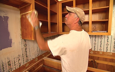 Thoroughly clean the cabinet box (also called carcass) with a degreaser.