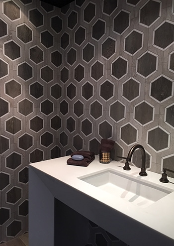 Walker Zanger's new Sterling Row tile collection won 1st place in the Best of KBIS/Bath category. The designs were inspired by the elegant feel of fine fabrics and burnished leather.