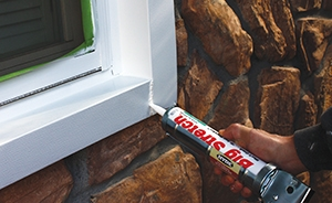 Seal leaks between nonmoving parts (i.e., between door frame and wall) with caulking/sealant.