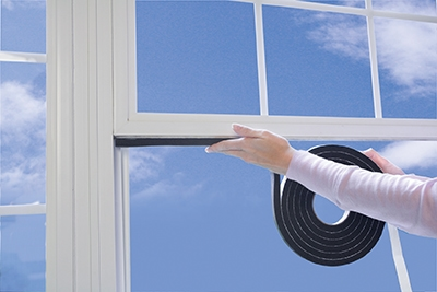 Seal leaks between moving parts (i.e., between window sash and sill) with weather-stripping.