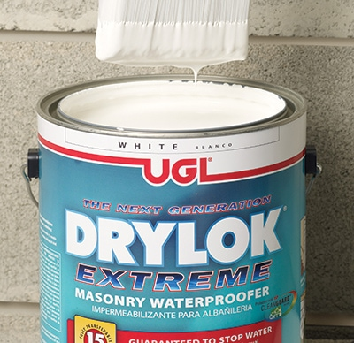 Drylok Extreme incorporates a non-hazardous biocide that helps resist mildew growth on the paint film. It stops 15 PSI (greater than a wall of water 33 feet high) and features a fully transferable 15-year warranty.