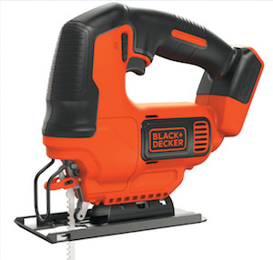 The Black & Decker model BDCJS20B is powered by a 20V MAX lithium-ion battery, so you don't have to tangle with that pesky power cord. It features a compact trigger, clear line of sight, keyless blade clamp, bevel shoe, dust blower, trigger lock, electric brake and a fan-cooled motor.