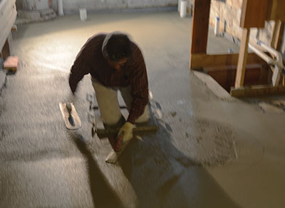 I could float the concrete floor, but could not float it well. That is a pro craftsman at work...