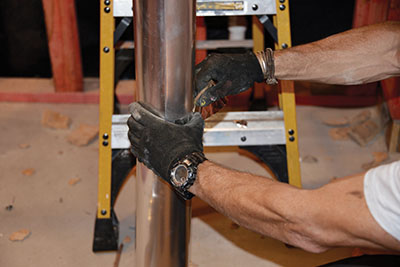 I recommend a hard pipe-no flexible tubing-to install a vent fan. I screw and tape all seams and joints too.