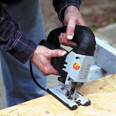 A jigsaw's footplate typically adjusts for bevel cuts between zero and 45 degrees.
