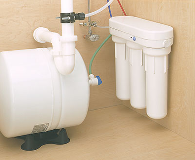 For improved drinking water, we install a point-of-use filter, Pentair RO3500 reverse osmosis unit.