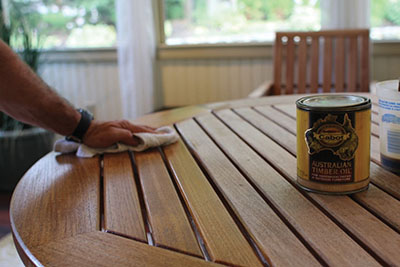 Apply protective oil to the wood surface.
