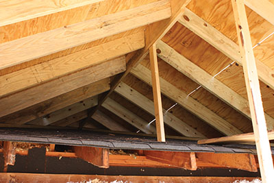 Shown is the new rafter system of the porch.