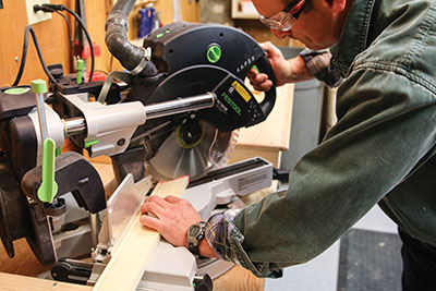 Cut miters to join the frame components.