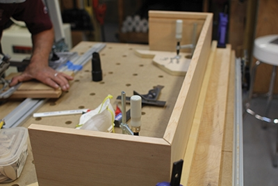 Assembly begins with one long wall and two side panels for each window box.