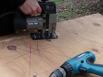 Use a jigsaw to cut the curve.