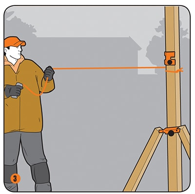 Fasten a string between corners to align the remaining fence posts.