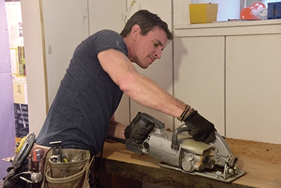"""I marked the sink and made the cut-out with 8-1/4"""" Skil wormdrive saw."""
