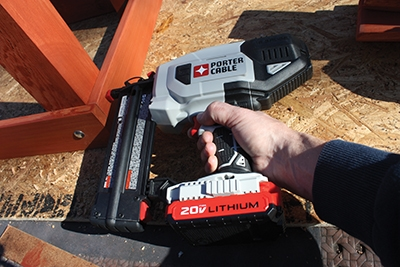 I shot finish nails into the side of the legs to hold them square while the glue dried. This cordless finish nailer from Porter-Cable made the job a snap.