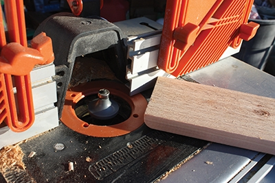 I used a round-over bit in a router table to ease the ends of the seat slats.