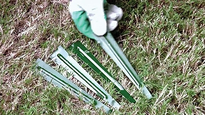 Use four stakes per edging strip.