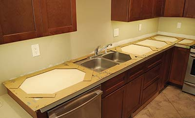 Build a solid surface kitchen countertop extreme how to for Kitchen worktop cutting template