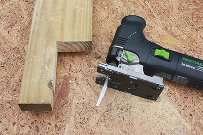 Keep a jigsaw nearby to make any notches necessary for railing posts or other obstacles.