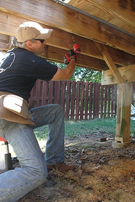 Whenever you have room beneath the deck, we recommend using a swiveling shop stool for a comfortable working position.